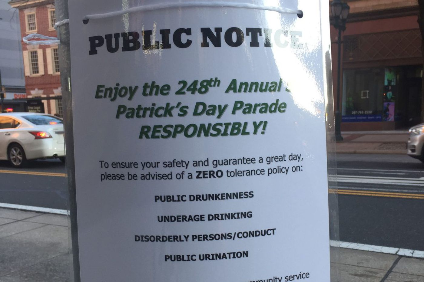 Do St. Paddy's Day parade signs serve as a warning or a dare in Philly?