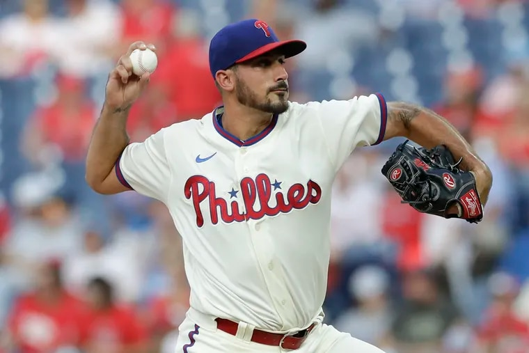 Phillies pitcher Zach Eflin  is sidelined by knee tendinitis.