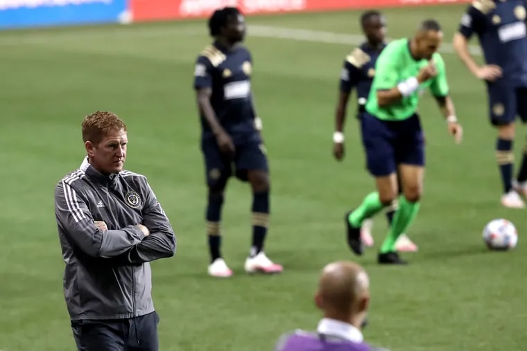 Union manager Jim Curtin, left, on the sideline at Subaru Park after a game earlier this year.
