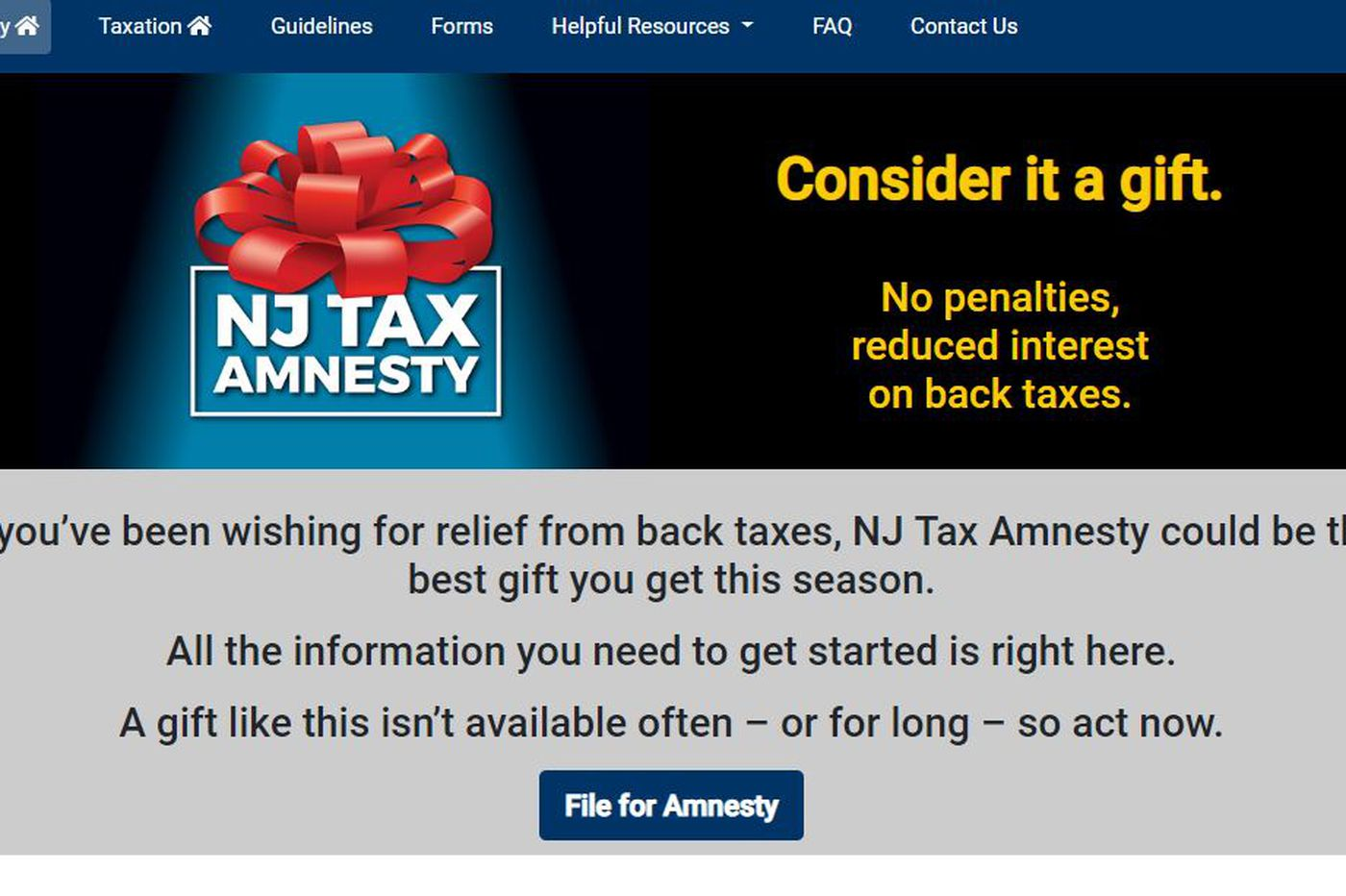 New Jersey offers 'gift' of tax amnesty. Is it worth it?