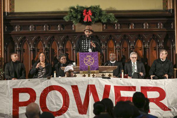 Dozens rally for Philly police accountability, including DA Larry Krasner, Chief Defender Keir Bradford-Grey, Eagles safety Malcolm Jenkins