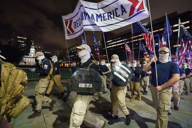 Members of the Patriot Front, a white supremacist group, march in Philadelphia, on July 03, 2021.