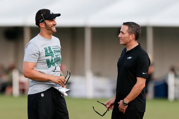 Eagles Head Coach Nick Sirianni with Executive Vice President/General Manager Howie Roseman at the end of training camp at the NovaCare Complex on Saturday, July 31, 2021.