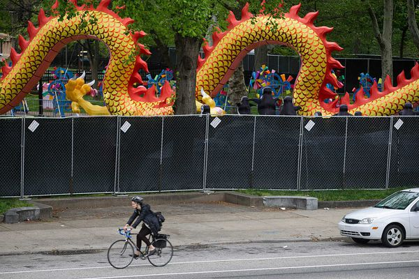 Partial fence around Franklin Square answers last year's criticism of Lantern Festival