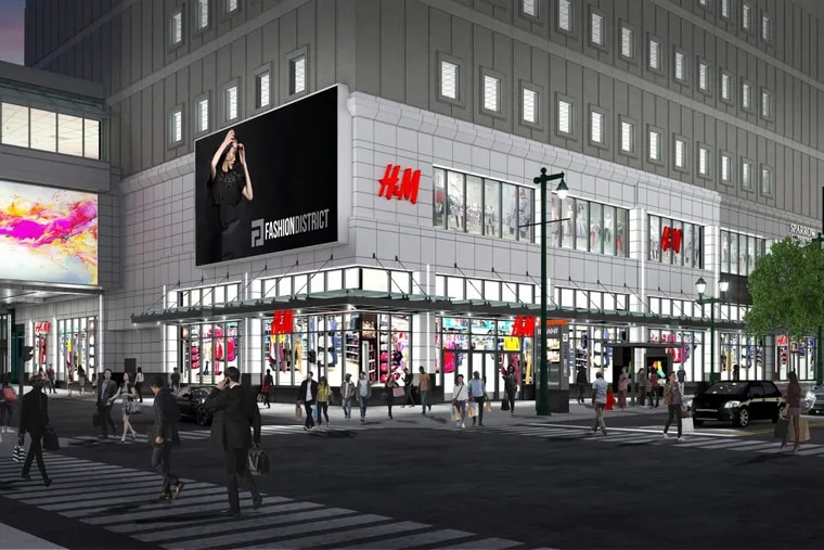 Artist's rendering of entrance to H&M store at the Fashion District Philadelphia mall being developed in Center City.