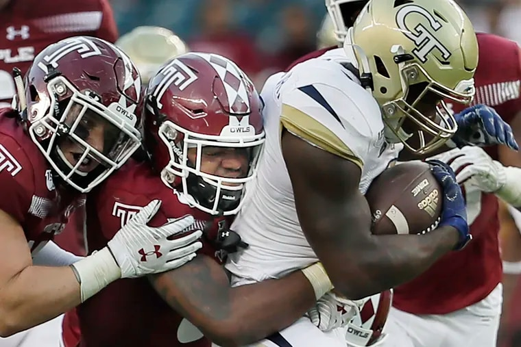 Temple' Benny Walls, pulling down Georgia Tech's Jerry Howard Jr. back in September, is one of seven senior starters who will be playing their last game as an Owl at Lincoln Financial Field.