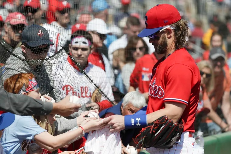 Bryce Harper likely won't be signing autographs for fans this spring in Clearwater, but there will be fans in the stands at Spectrum Field.