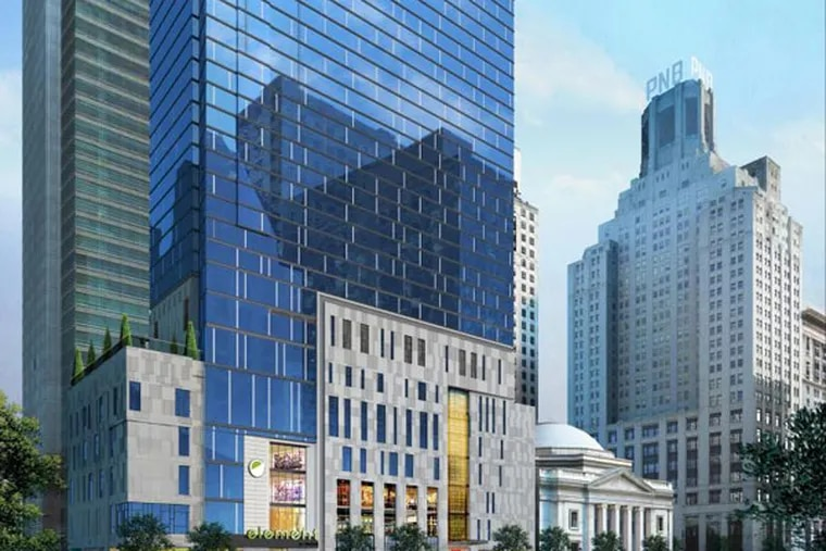 A rendering of the Element and W Hotels planned for 15th and Chestnut Streets. (Courtesy of Brook Lenfest)