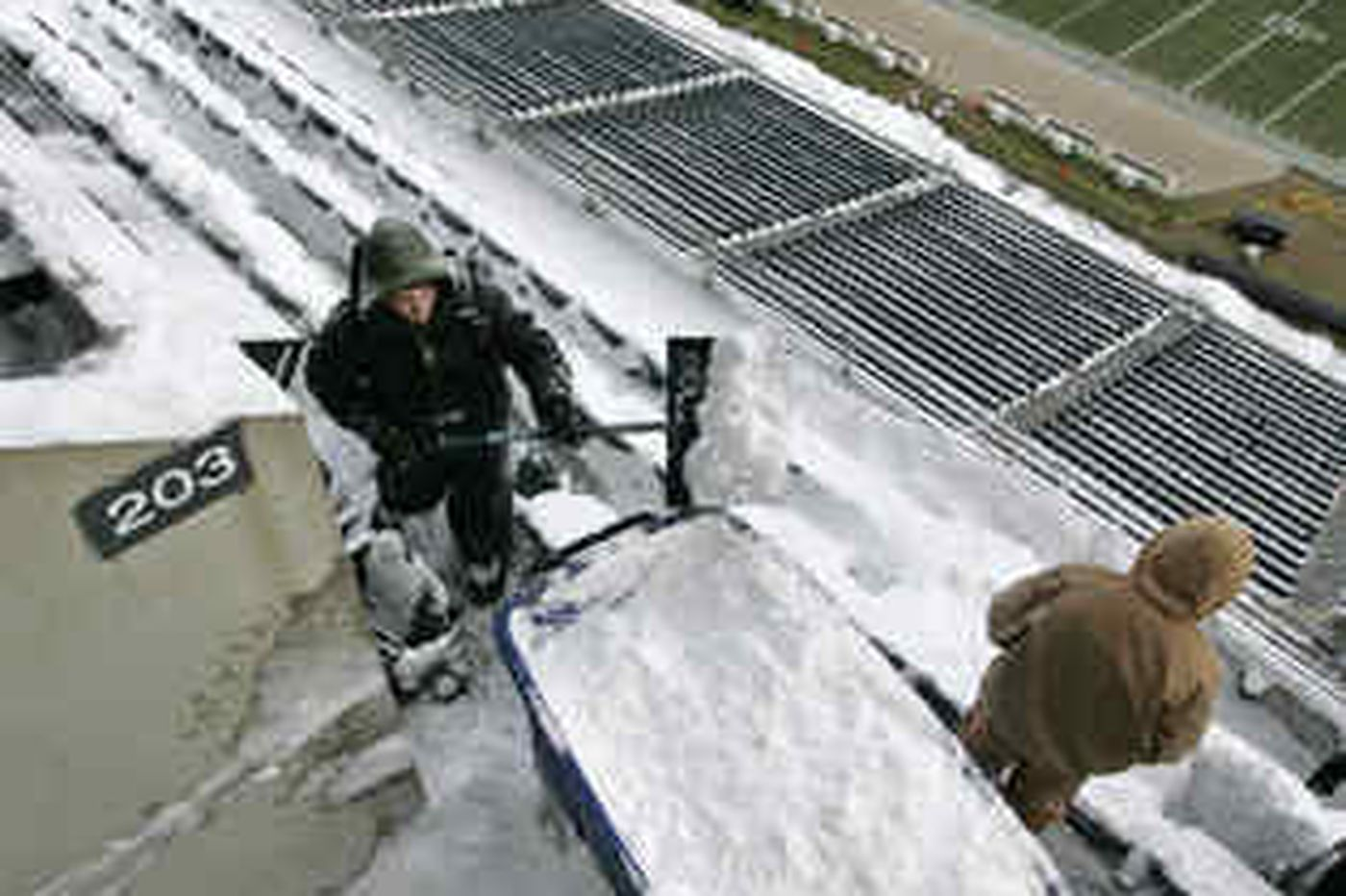 Before Eagles game, cleanup team took the field