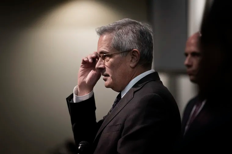 The office of DA Larry Krasner (pictured here) is set to try ex-officer Ryan Pownall for fatally shooting David Jones, a 30-year-old unarmed man, as Jones ran from a traffic stop.