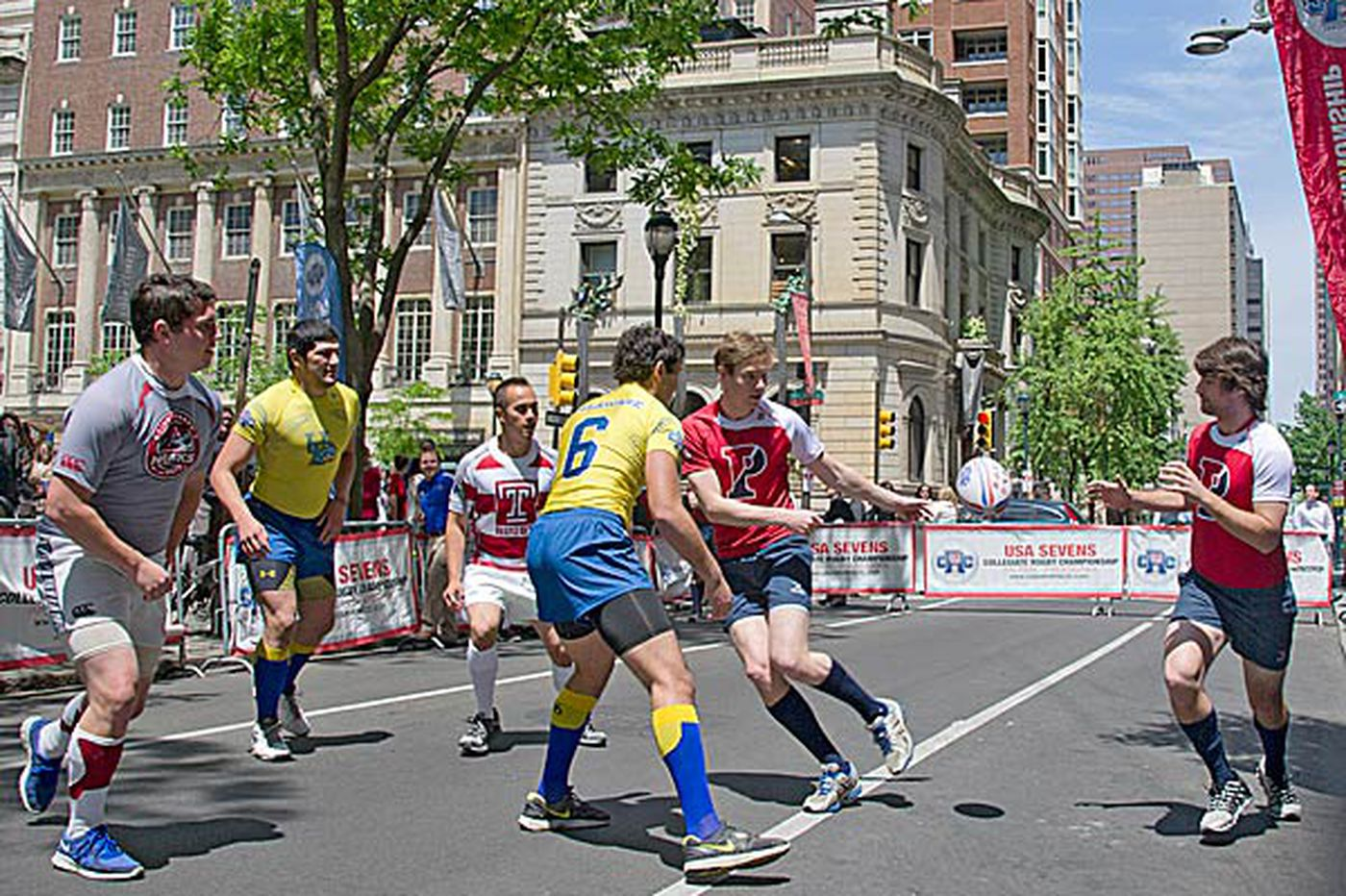 College teams demonstrate rugby at Rittenhouse Square
