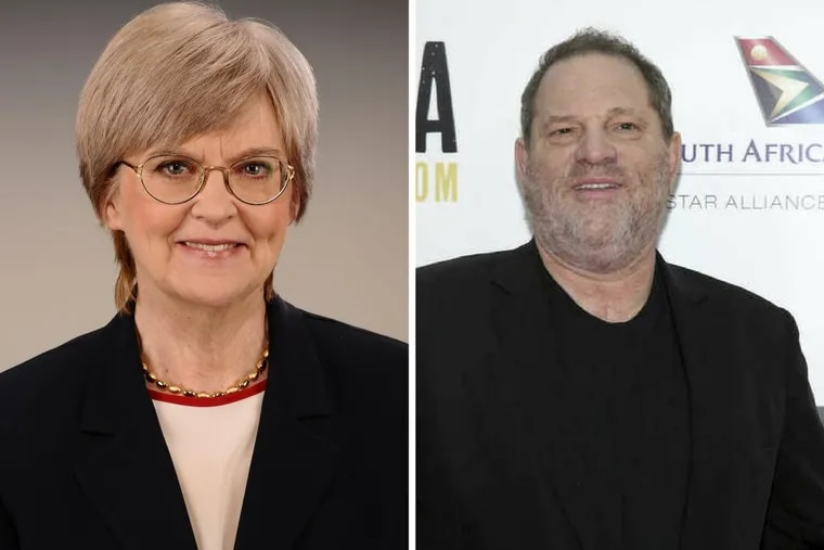 Alice Ballard, left, is an employment lawyer in Philadelphia. Hollywood mogul Harvey Weinstein, right, is accused of sexually harassing dozens of women over the span of his career.