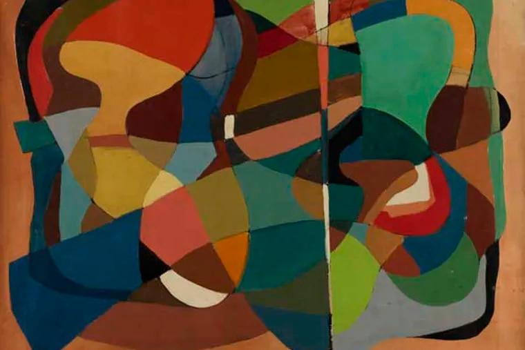 "ARTSY24c Morris Blackburn's painting, ""Orchestration"" (1945), oil on canvas, at PAFA Alumni Sales"