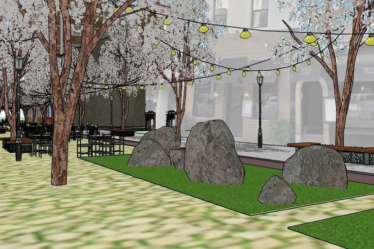 A charrette created by Drexel University students of what South 19th Street between Walnut and Chestnut streets would look like if the block were pedestrian-only.