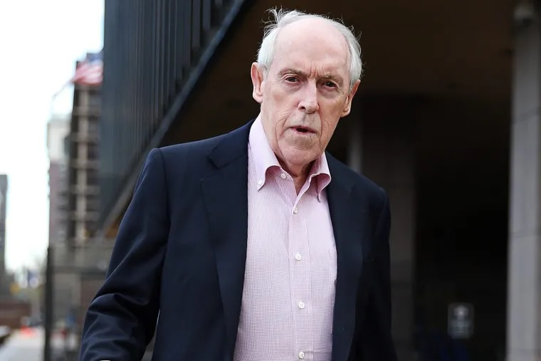 Charles Hallinan, 76, is shown leaving the federal courthouse in Philadelphia on April 7, 2016. He was found guilty Monday of racketeering conspiracy in payday lending.