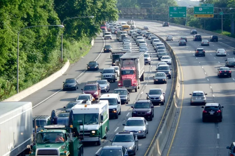 Traffic is jammed up on the Schuylkill Expressway. Commute times in Philadelphia are the getting longer — but a small town in the Poconos has the longest average commute in the country.