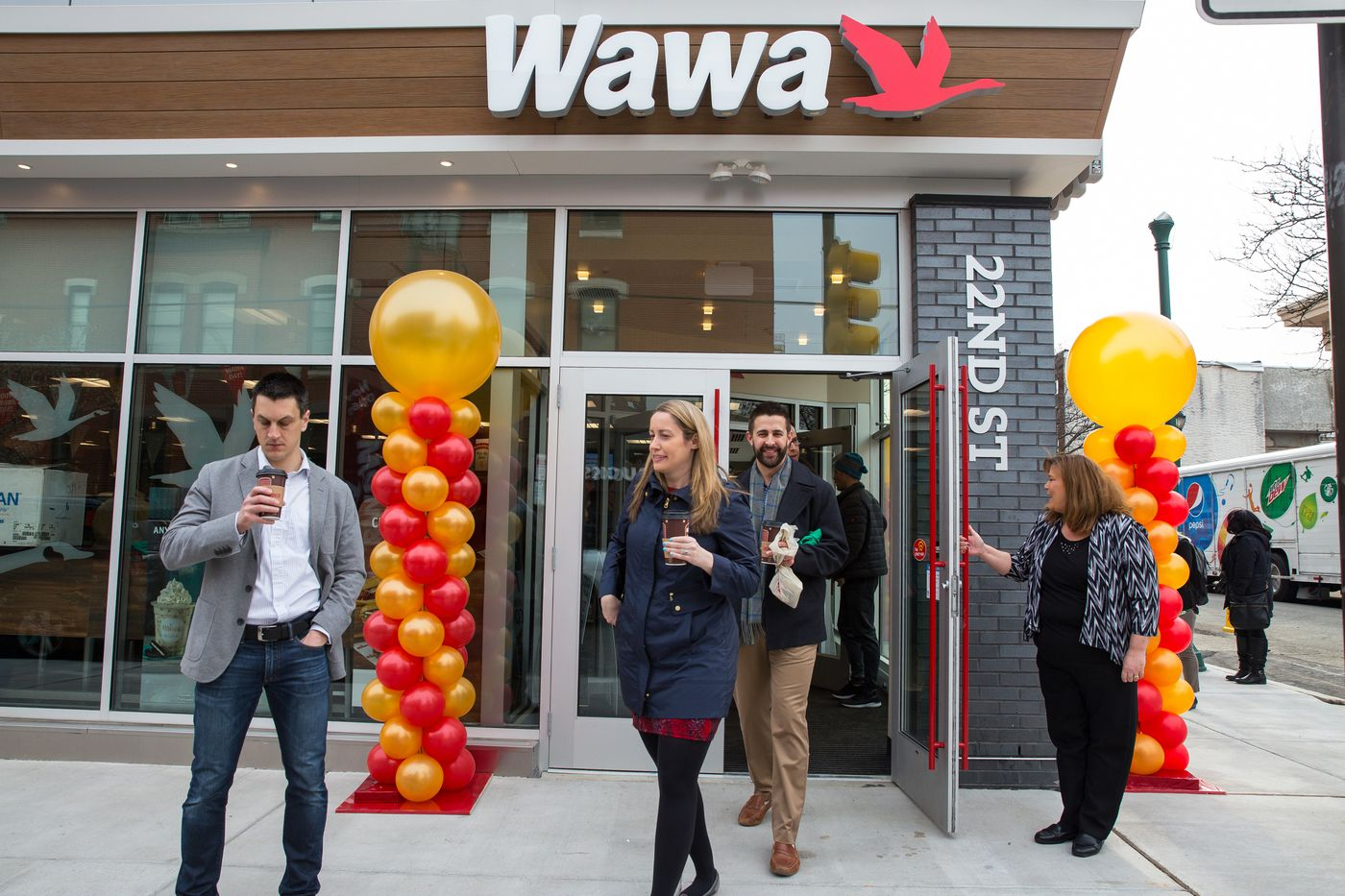 Visitors With Free Cups Of Coffee At The Opening New Wawa 2131