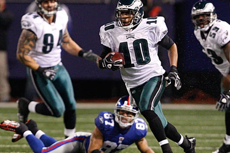 DeSean Jackson caught six passes for 178 yards and one touchdown last night. He also scored on a 72-yard punt return. (Ron Cortes/Staff Photographer)