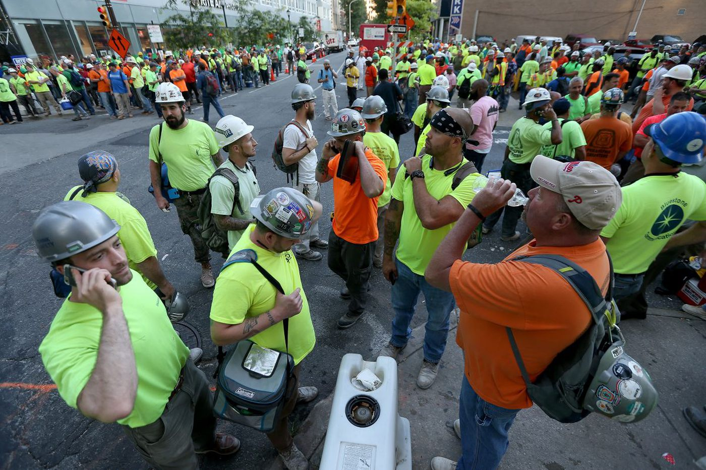 Work halted at Comcast tower as crane operators protest