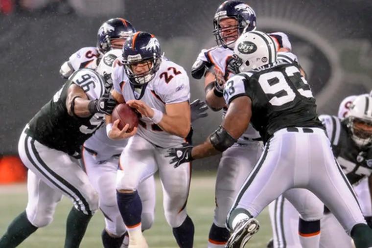 Broncos' Peyton Hillis had 129 yards rushing on Sunday against the Jets.