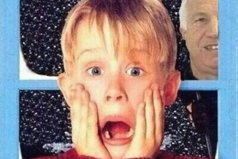 """This image of Sandusky sneaking up on Macaulay Culkin from """"Home Alone"""" was in circulation among officials."""