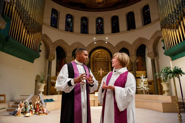 Rev. Nicolas O'Rourke, left, and Cathedral Dean Judith Sullivan, right, at the Episcopal Cathedral, where a jazz-infused Watch Night for Racial Justice event will take place the afternoon and evening of New Year's Eve.