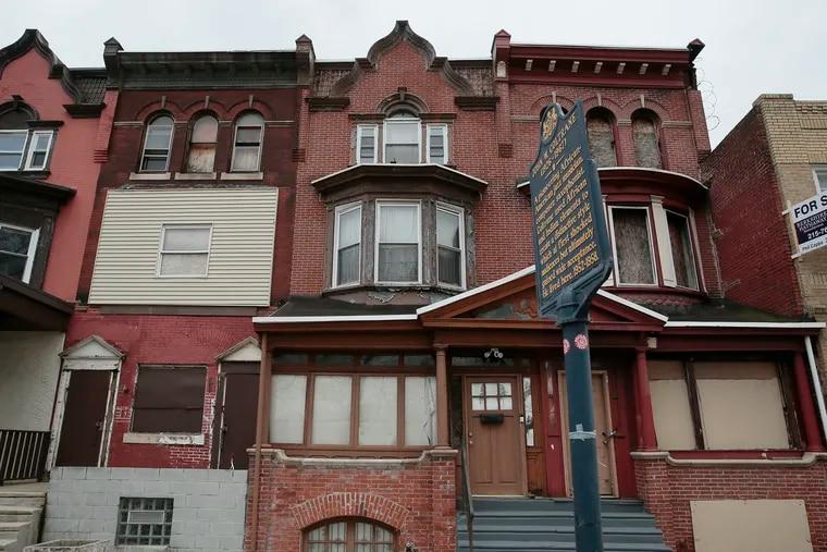 The John Coltrane House (center) at 1511 N. 33rd St in Phila., Pa. on Feb. 7, 2020.