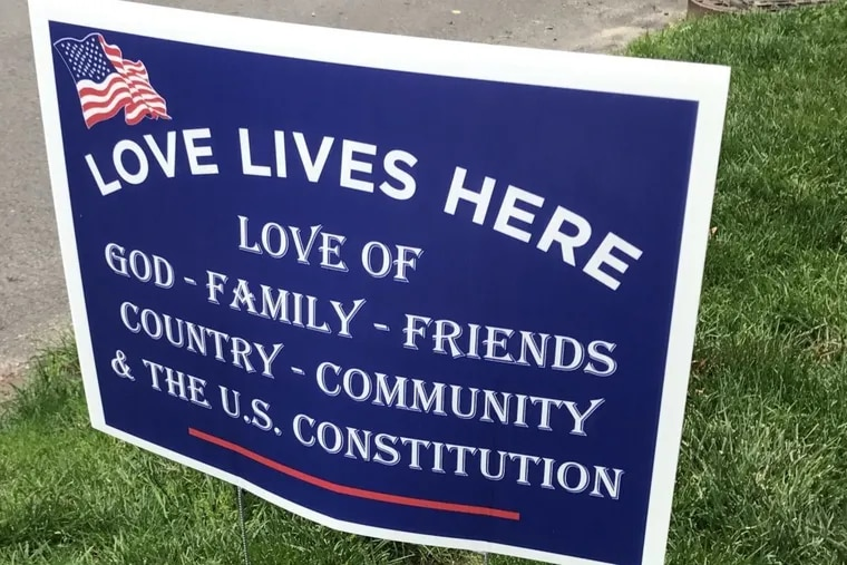 """Springfield Township Republicans have created a new lawn sign in response to """"Hate Has No Home Here"""" signs that sprouted after President Trump's election."""