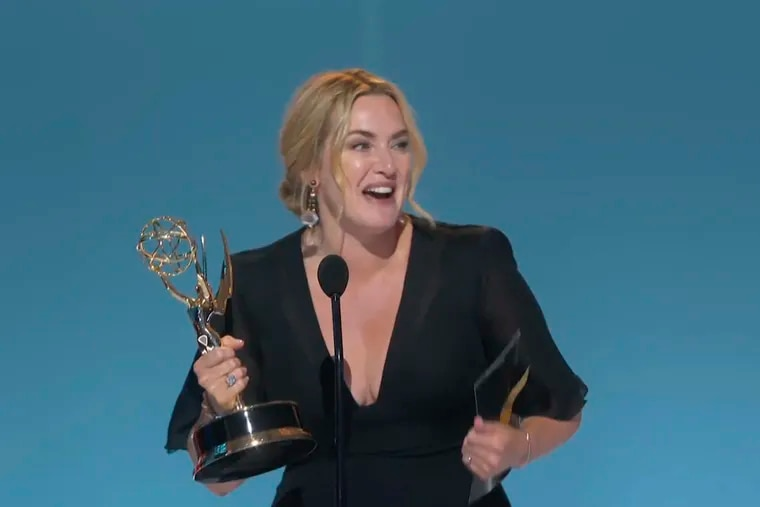 """In this video grab issued Sunday, Sept. 19, 2021, by the Television Academy, Kate Winslet accepts the award for outstanding lead actress in a limited or anthology series or movie for """"Mare of Easttown"""" during the Primetime Emmy Awards. (Television Academy via AP)"""