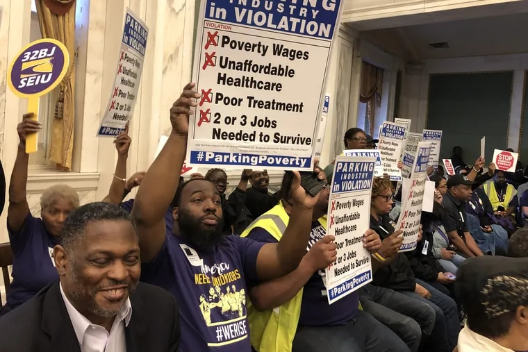 Parking workers and 32BJ SEIU members at a hearing on Monday for a package of bills to regulate the parking industry.