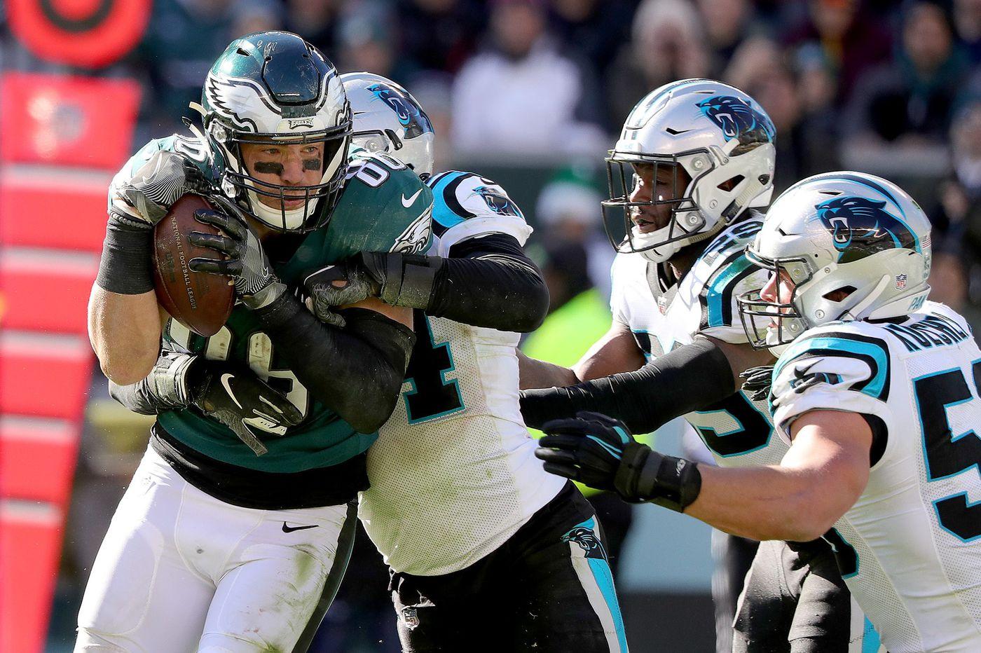 Eagles-Panthers: Eric Reid's 'interception,' Zach Ertz makes his mark, Joel Embiid meets Brian Dawkins and more | Social media roundup