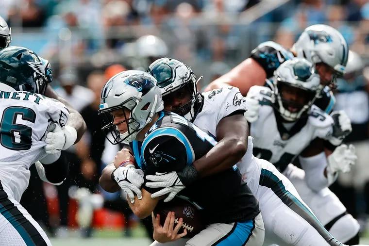 Eagles defensive tackle Javon Hargrave sacks Carolina Panthers quarterback Sam Darnold during the second quarter on Sunday.