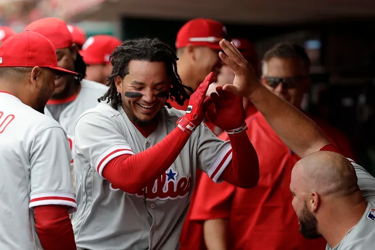 Freddy Galvis smiled after hitting a home run against the Reds on April 3, 2017 in Cincinnati.