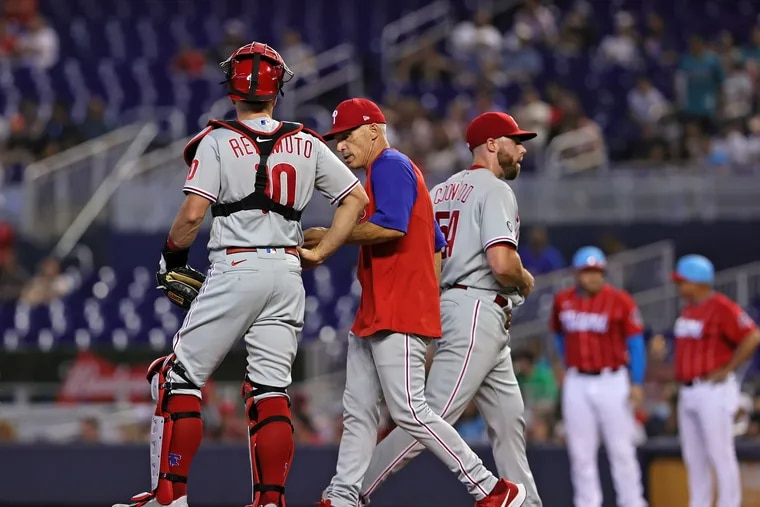 """Sam Coonrod got the """"start"""" for the Phillies in their bullpen game Sunday in Miami, going 1⅓ innings before being lifted by manager Joe Girardi."""