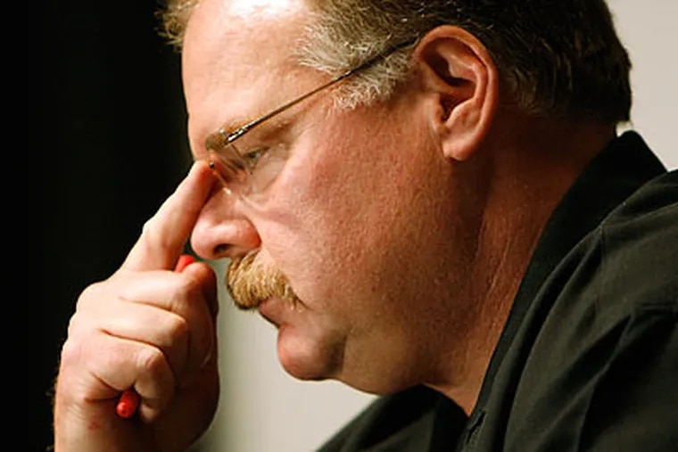 Eagles coach Andy Reid has taken his time searching for a new defensive coordinator. (David Maialetti/Staff file photo)