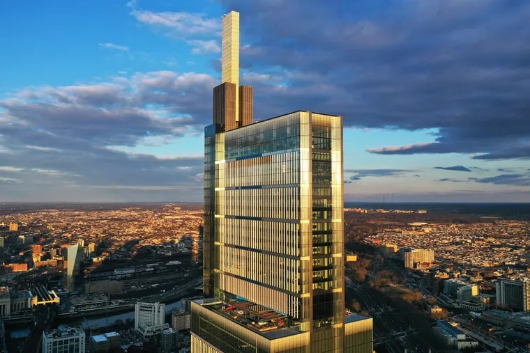 The Comcast Technology Center, with a height of 1,121 feet.