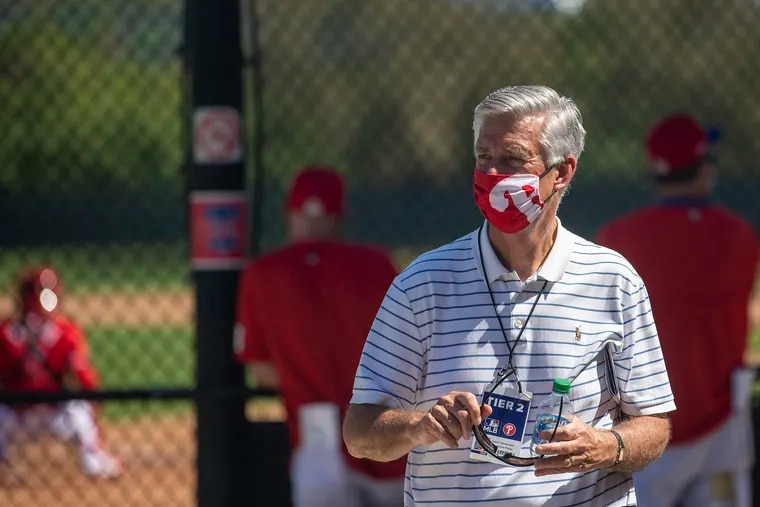Phillies president of baseball operations roams the fields during a spring-training workout this week in Clearwater, Fla.