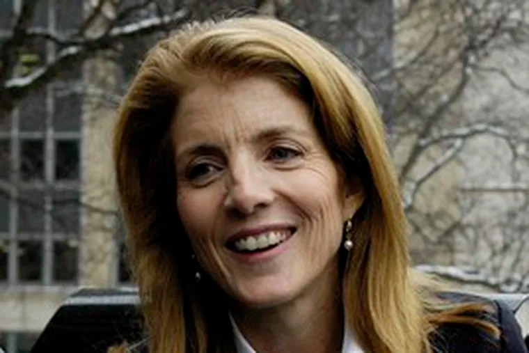"""Caroline Kennedy after visiting with Mayor Matt Driscoll in Syracuse, N.Y. She said """"there are lot of good candidates"""" to succeed Clinton."""