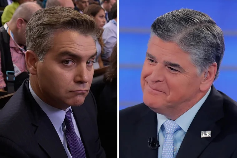 "CNN reporter Jim Acosta (left) blasted Fox News host Sean Hannity as a ""propagandist for profit."""