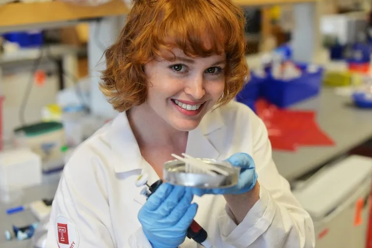 Emily Kight in the Temple University laboratory where she does research