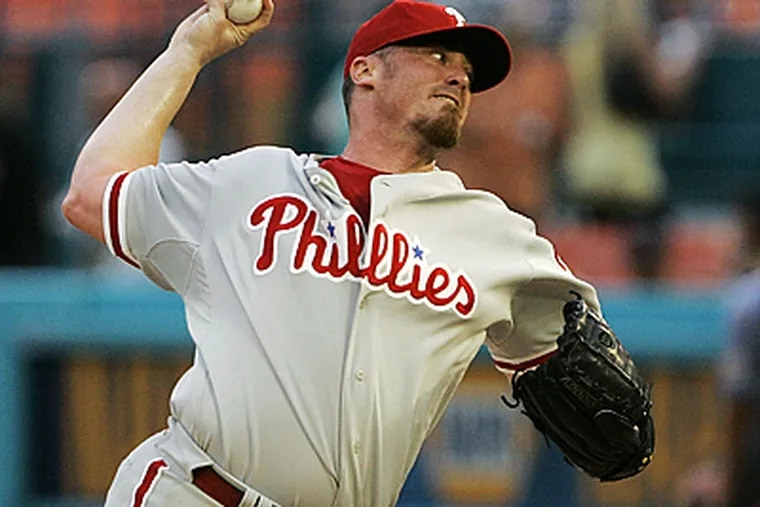 Phillies pitcher Brett Myers was hurt by home runs last night in Miami. (AP)