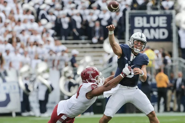 Temple's Jullian Taylor puts pressure on Penn State's Trace McSorley throws an incomplete pass during the 1st quarter in State College, Saturday September 17, 2016. STEVEN M. FALK / Staff Photographer