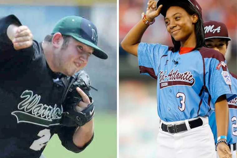 """Former Montco high school standout Joey Casselberry (left) was dismissed from the team at Bloomsburg University after calling Mo'ne Davis a """"slut"""" on Twitter."""