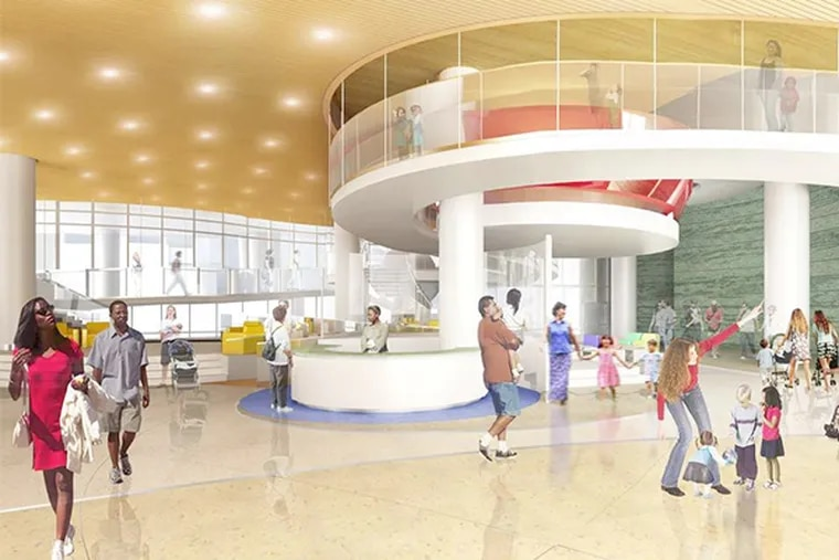 Rendering of the Giant Lobby, to be named for the grocery chain, at Buerger Center for Advanced Pediatric Care now being built at the hospital.