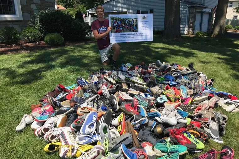 Connor Warwick, 18, a freshman at Temple University, will send off a shipment of several hundred sneakers and cleats this fall to small villages in Ghana to benefit needy kids who can't afford proper footwear to play the country's most popular sport.