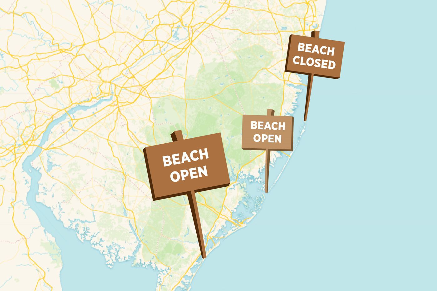 Our Shore and Delaware beach closings map will help you plan your summer trips