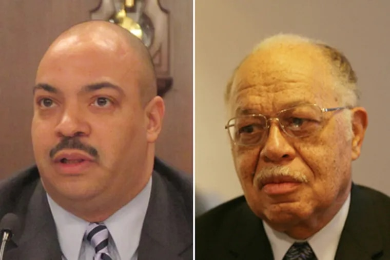Left: District Attorney Seth Williams testifies Tuesday at a joint state Senate committee hearing on the conditions at an abortion clinic. (Marc Levy / AP) Right: Kermit Gosnell was the head doctor at the clinic and is charged with murder. (File / Staff)