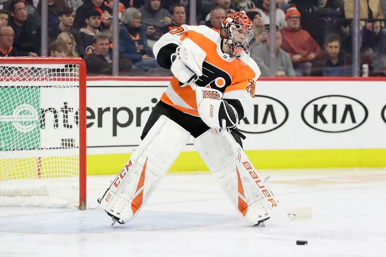 Goaltender Carter Hart and the Flyers will host Boston on Tuesday.