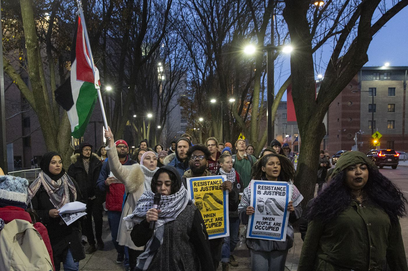 Students march in support of embattled Temple professor Marc Lamont Hill