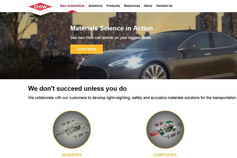 Screen shot from the Dow Automotive website. The newly formed DowDupont now plans to transfer its automotive-supply and several other materials businesses, with total yearly sales of $8 billion, to a DuPont successor company based in Delaware instead of its planned Dow successor in Michigan.